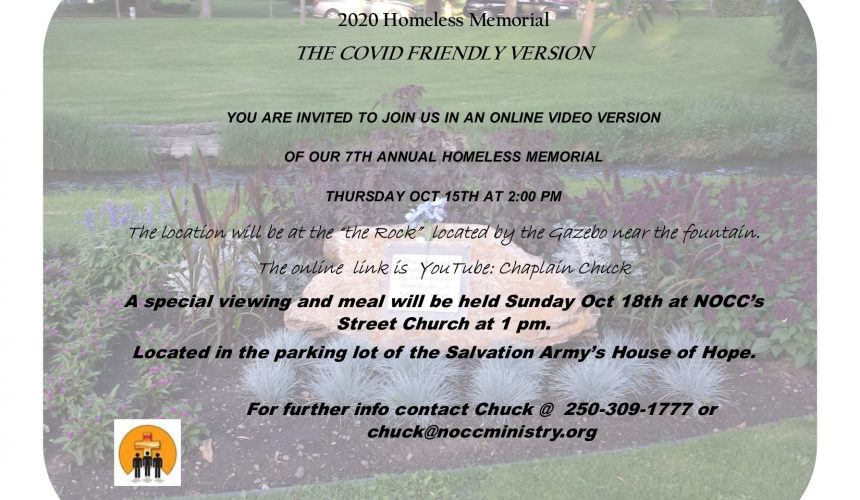 October's 7th Annual Homeless Memorial COVID edition